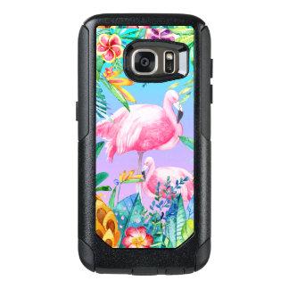 Bunte tropische Blumen u. Flamingos GR2 OtterBox Samsung Galaxy S7 Hülle