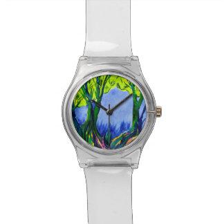 Bunte Uhr der Wasserfarbe-LandschaftMay28th