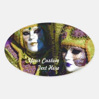 Bunte venezianische Paare mit Karnevals-Masken Ovaler Aufkleber