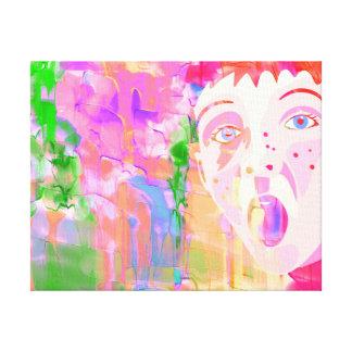 Bunte Wasserfarbe-Malerei mit Jungen-Gesicht Leinwanddruck