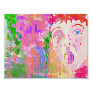 Bunte Wasserfarbe-Malerei mit Jungen-Gesicht Poster