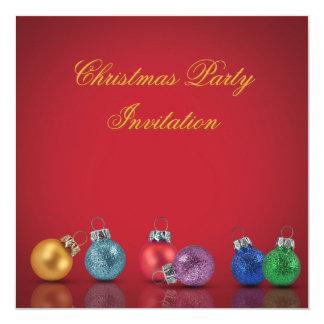 Bunte Weihnachtsverzierungen - Party Einladung