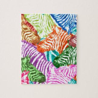 Bunte Zebra-Herden-Collage Puzzle