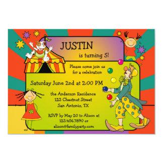 Bunte Zirkus-Kindergeburtstag-Party Einladung