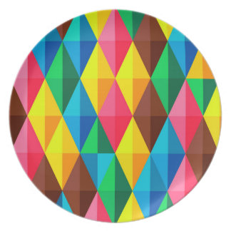 Bunter abstrakter Diamant-Form-Hintergrund Melaminteller