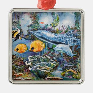 Bunter Delphin und tropische Fische Silbernes Ornament