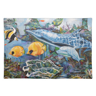 Bunter Delphin und tropische Fische Stofftischset