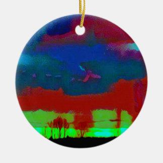 Bunter Fall tonte abstrakten Horizont-Himmel Rundes Keramik Ornament