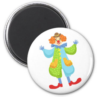 Bunter freundlicher Clown in der Melone in Runder Magnet 5,7 Cm
