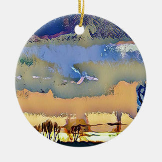 Bunter heller Fall tonte abstrakten Rundes Keramik Ornament