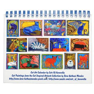 Bunter Katzen-Kunst-Kalender 2018 für Abreißkalender