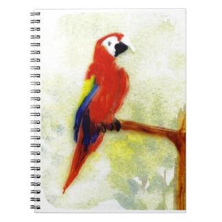 Bunter Macaw-Vogel Spiral Notizblock