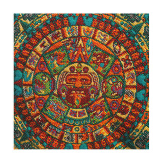 Bunter Mayakalender Holzleinwand
