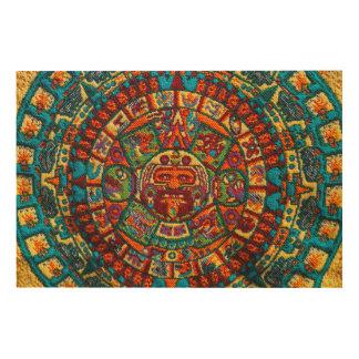 Bunter Mayakalender Holzwanddeko