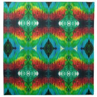Bunter Papagei versieht Muster mit Federn Serviette