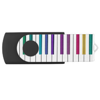 Bunter Regenbogen-Klavier-Musik USB-Blitz-Antrieb Swivel USB Stick 3.0