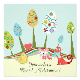 Bunter Retro Katzen-und Osterei-Baum-Geburtstag Quadratische 13,3 Cm Einladungskarte