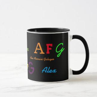 bunter Schriftart/Artinitialen/Name personalisiert Tasse