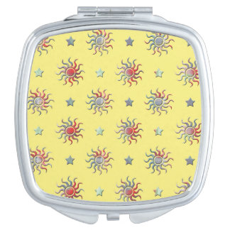 Bunter Sonne- und Sternentwurf Taschenspiegel