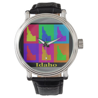 Bunter Staat der Idaho-Pop-Kunst-Karte Armbanduhr