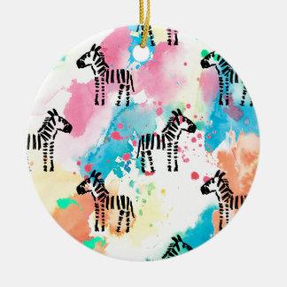 Bunter Wasserfarbe Zebradruck Keramik Ornament