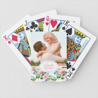 Bunter Watercolor-Blumenmuster - Hochzeits-Foto Poker Karten