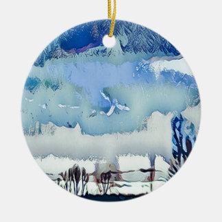Bunter Winter-blauer abstrakter Horizont-Himmel Keramik Ornament