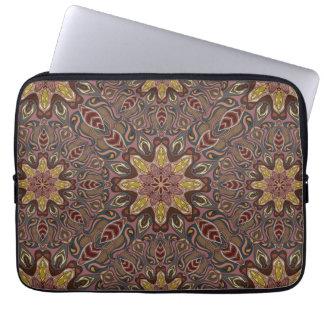 Buntes abstraktes ethnisches Blumenmandalamusterde Laptopschutzhülle