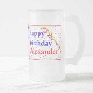Buntes alles Gute zum Geburtstag personalisiert Matte Glastasse