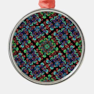 Buntes Blumencollagen-Muster Rundes Silberfarbenes Ornament