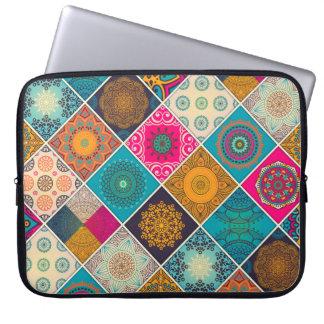 Buntes böhmisches Mandala-Patchwork Laptopschutzhülle