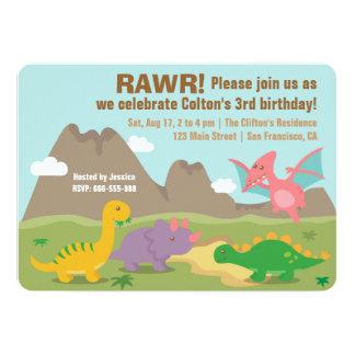 Buntes Dinosaurier-Kindergeburtstag-Party 12,7 X 17,8 Cm Einladungskarte