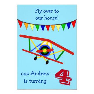 Buntes Flugzeug-Kindergeburtstag-Party 8,9 X 12,7 Cm Einladungskarte