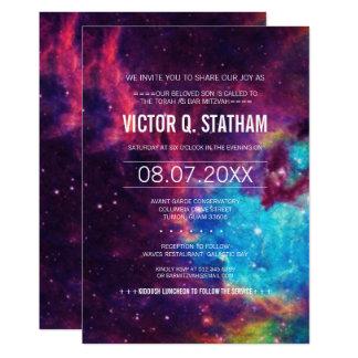 Buntes Galaxie-Bar Mitzvah Party laden ein 12,7 X 17,8 Cm Einladungskarte