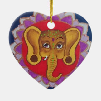 Buntes Ganesha Keramik Herz-Ornament