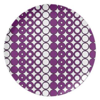 Buntes lila Kreis-Muster Teller