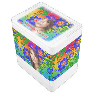 Buntes mit Blumenmosaik - Grün, Blumen, cooler Igloo Kühlbox