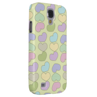 buntes Muster der Herzen und des grünen Galaxy S4 Hülle