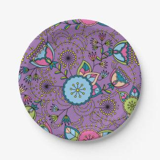 Buntes Muster der Mohnblumen und des Löwenzahns Pappteller