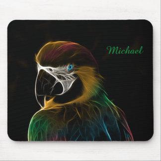 Buntes Papageien-Fraktal Digital Mauspad
