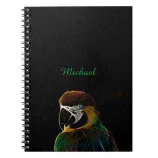 Buntes Papageien-Fraktal Digital Spiral Notizblock