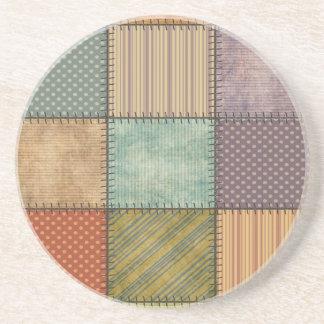 Buntes Patchwork des Vintagen retro Spaßes Sandstein Untersetzer