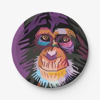 Buntes Pop-Kunst-Affe-Porträt Pappteller
