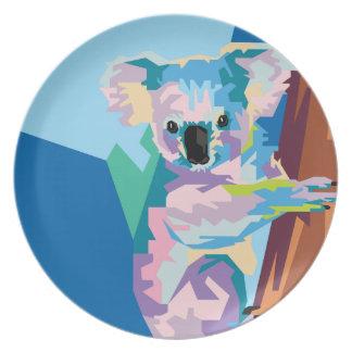 Buntes Pop-Kunst-Koala-Porträt Melaminteller