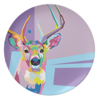 Buntes Pop-Kunst-Rotwild-Porträt Teller