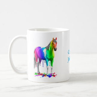 Buntes Regenbogen-Bratenfett-Farben-Pferd Tasse