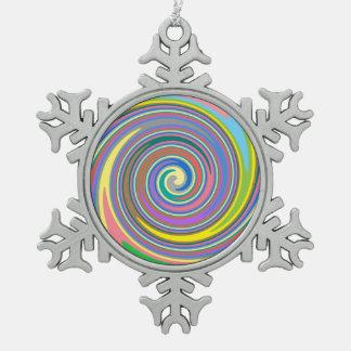 Buntes Regenbogenstrudelmuster Schneeflocken Zinn-Ornament