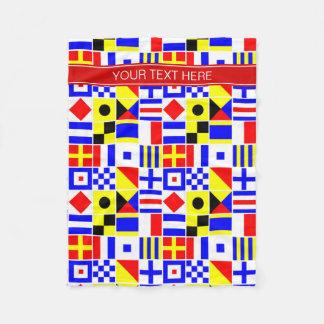 Buntes Seesignal-Flaggen-rotes Namensmonogramm Fleecedecke