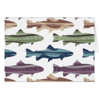 Buntes Spaß-Forelle-Fisch-Muster Mitteilungskarte