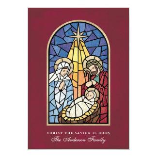 Buntglas-Geburt Christis-Szenen-Weihnachtskarte 12,7 X 17,8 Cm Einladungskarte